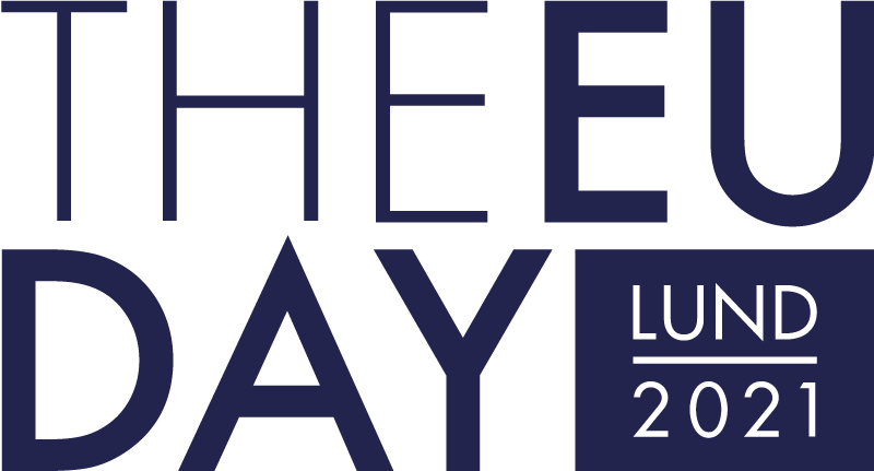 The EU day lund 2021 i mörkblå text på vit bakgrund