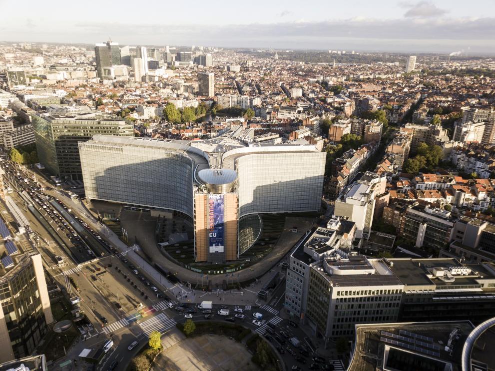 Flygfoto över Berlaymont, EU-kommissionens högkvarter i Bryssel, Belgien.