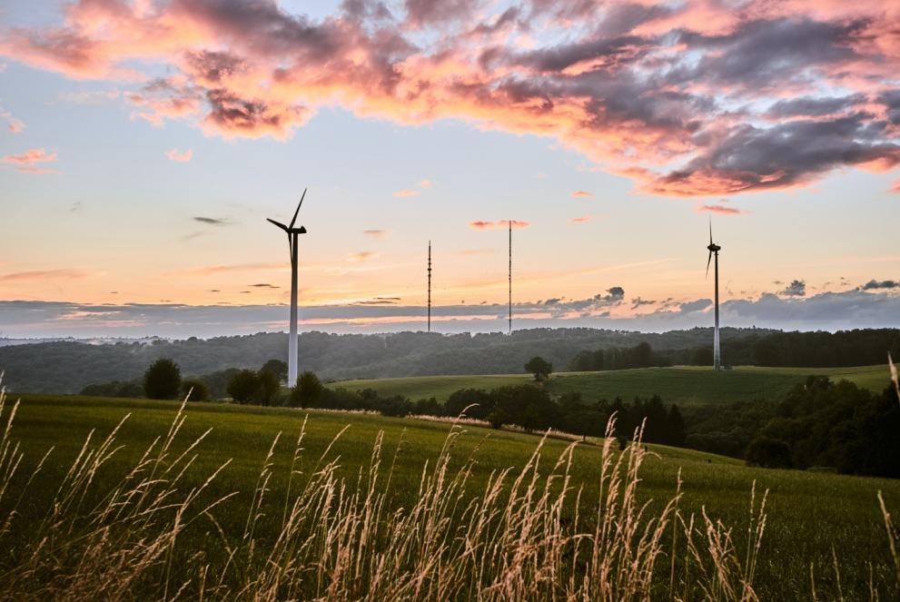 Vindkraftverk vid horisonten